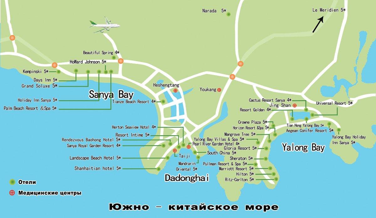 Карта о. Хайнань